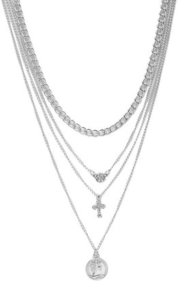 boohoo Millie Coin Cross Diamante Layered Necklace