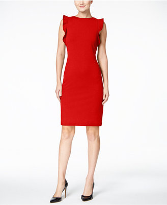Calvin Klein Ruffled U-Back Sheath Dress $134 thestylecure.com