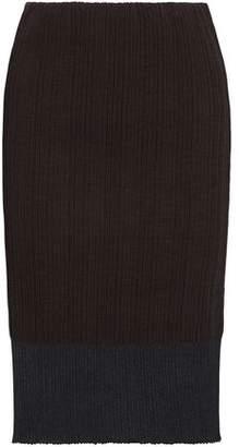 Jil Sander Metallic Ribbed Cotton-Blend Skirt