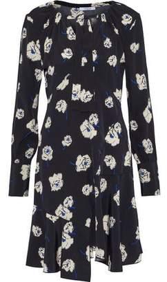 Derek Lam 10 Crosby Pussy-Bow Wrap-Effect Floral-Print Silk Mini Dress