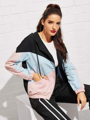 Shein Color Block Drawstring Detail Hooded Jacket