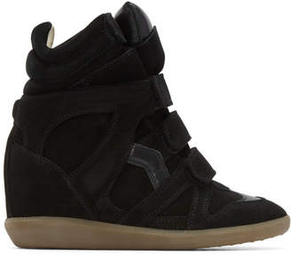 Isabel Marant Black Suede Beckett Wedge Sneakers