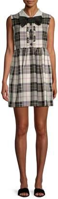 Miu Miu Women's Plaid Silk Short Day Dress