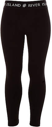 River Island Girls black #RI waistband leggings