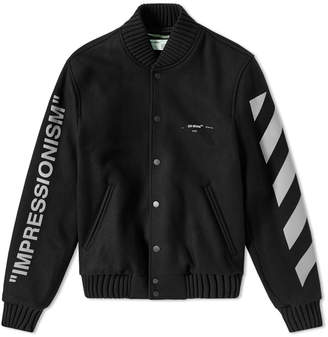 Off-White Off White Green Man Varsity Jacket