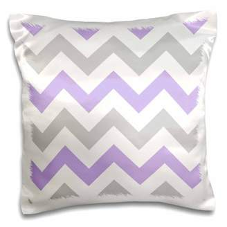 3dRose Lilac and grey Chevron zig zag pattern gray white purple zigzag stripe, Pillow Case, 16 by 16-inch