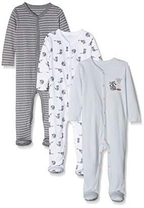 Mothercare Baby Boys Racoon 3 Pack Sleepsuits (Light Blue), (Manufacturer Size: 50)