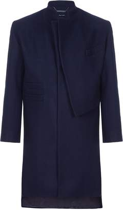 He & DeFeber - Midnight Blue Asymmetrical Front Deconstructed Wool Overcoat