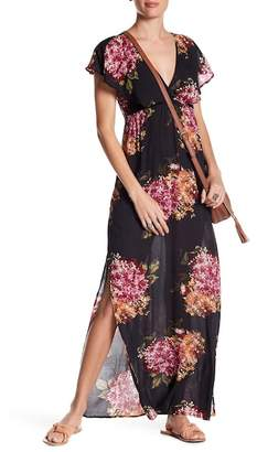 Love Stitch Flutter Sleeve Maxi Dress
