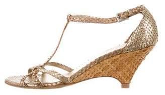 Prada Python Wedge Sandals