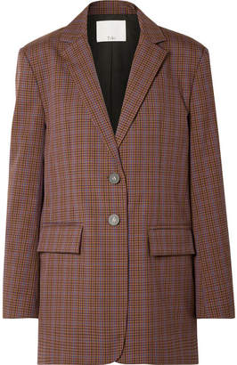 Tibi Oversized Checked Woven Blazer - Brown