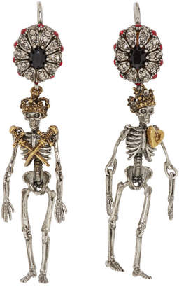 Alexander McQueen Silver Queen and King Skeleton Earrings