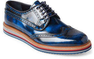 Jared Lang Navy Wingtip Leather Derby Shoes