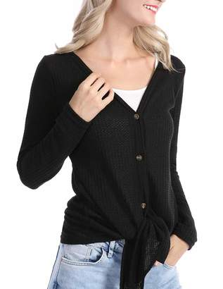 Les umes Womens Cardigans Casual Lightweight V Neck Long Sleeve Cardigan Sweaters with Buttons M L