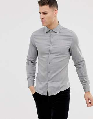 Asos Design Slim Shirt In Twill With Double Cuff & Cutaway Collar In Charcoal