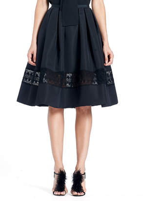 Carolina Herrera Full Silk Faille Cocktail Skirt with Lace Inset
