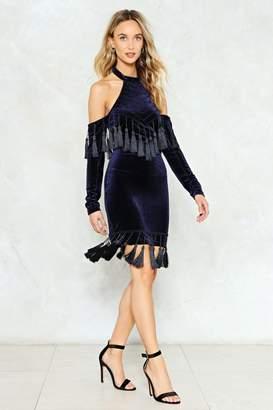 Nasty Gal Make an Entrance Velvet Tassel Dress