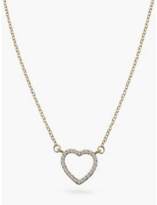 Hot Diamonds 9ct Gold Diamond Ripple Heart Pendant Necklace