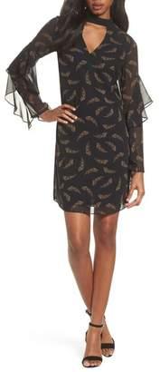 Sam Edelman Feather Print Choker Collar Dress