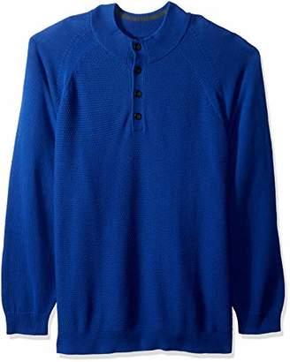 Cutter & Buck Men's Soft Textured Yarn Reuben Button Mock Long Sleeve Sweater