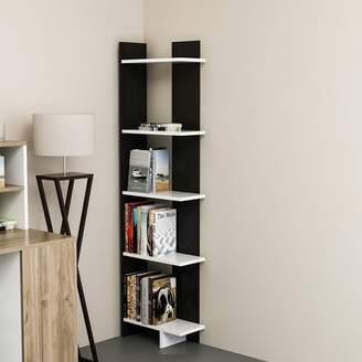 Latitude Run Lorena Ladder Corner Unit Bookcase Color : Black/White