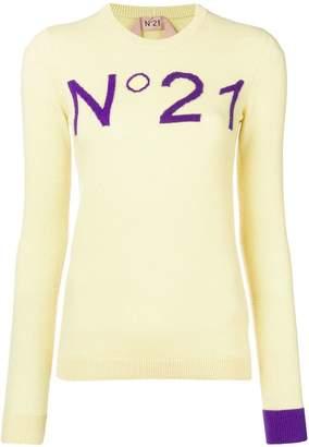 No.21 intarsia logo jumper