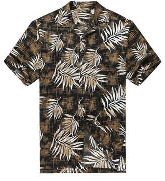 Hawaii Hangover Men's Hawaiian Shirt Aloha Shirt 2XL Breadfruit Leaves in Black