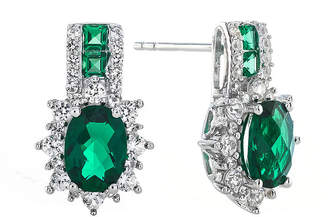 JCPenney FINE JEWELRY Lab-Created Emerald and White Sapphire Sterling Silver Earrings