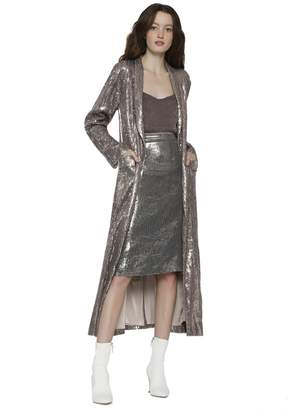 Alice + Olivia Angela Sequin Long Coat
