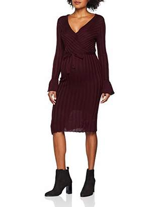 Mama Licious Mamalicious Women's Mlzanne Tess L/s Knit Abk Dress Nf, Red Winetasting, (Manufacturer Size: Large)