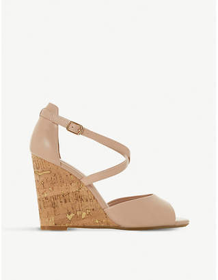Dune Majave crossover-strap wedge heel leather sandals