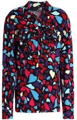 Love Moschino Ruffled Printed Twill Shirt