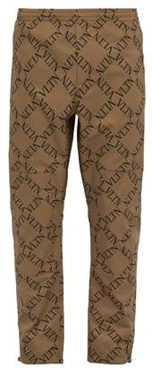 Valentino Vltn Print Cotton Twill Chinos - Mens - Beige