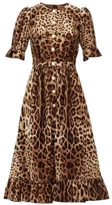 Dolce & Gabbana Ruffle Trim Leopard Print Velvet A Line Midi Dress - Womens - Leopard