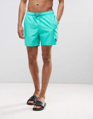 Hollister Guard Swim Shorts Solid Seagull Logo In Green