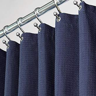 "+Hotel by K-bros&Co mDesign Hotel Quality Polyester/Cotton Blend Fabric Shower Curtain with Waffle Weave and Rustproof Metal Grommets for Bathroom Showers and Bathtubs - 72"" x 72"" - Navy Blue"