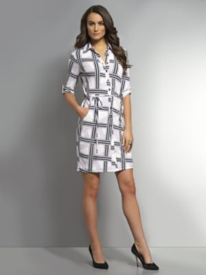 New York & Co. Printed Matte Jersey Belted Shirtdress