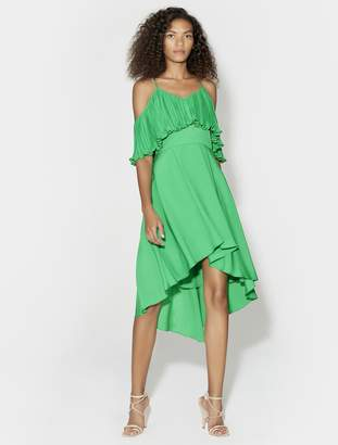 Halston COLD SHOULDER V NECK DRESS WITH PLEATED FLOUNCE TOP