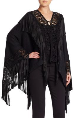 Ralph Lauren Collection Fringe-Trimmed Silk Poncho