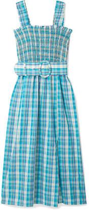 Nicholas Belted Shirred Checked Cotton-muslin Midi Dress