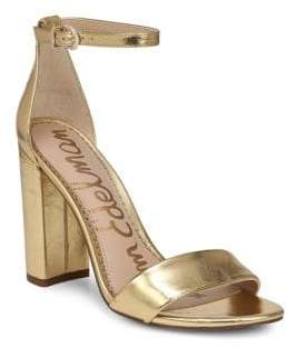 Sam Edelman Yaro Metallic Leather Ankle-Strap Sandals