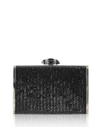 Judith Leiber Couture Herringbone Tall Rectangle Clutch Bag, Jet
