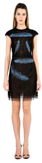 Marios Schwab Cap Sleeve Feather Dress
