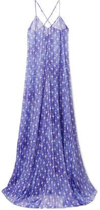 Caroline Constas Ares Printed Metallic Silk-blend Chiffon Coverup - Blue