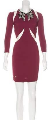 Philipp Plein Embellished Mini Dress Purple Embellished Mini Dress