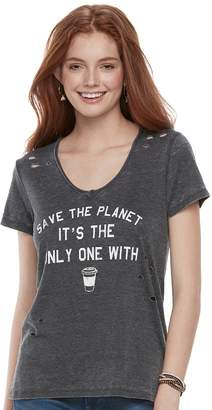 "Grayson Threads Juniors' Save The Planet"" Destructed Graphic Tee"