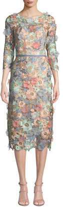 Marchesa 3D Floral Guipure Lace V-Back Midi Cocktail Dress