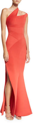 Rachel Gilbert Scuba Knit One-Shoulder Gown