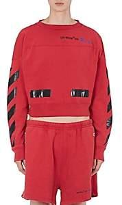 Off-White Men's Champion Cotton-Blend Crop Sweatshirt-Red