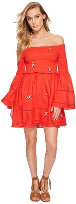 Free People Counting Daisies Embroidered Mini Dress Women's Dress